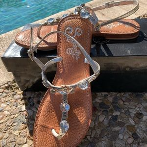 Seychelles silver and leather jeweled sandals